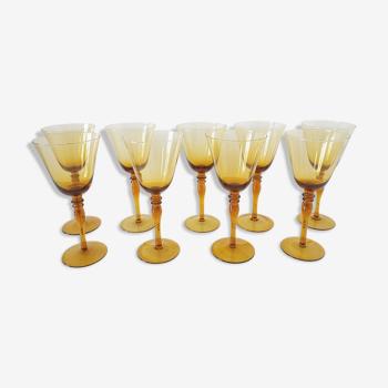 Set of 9 amber blown glass wine glasses