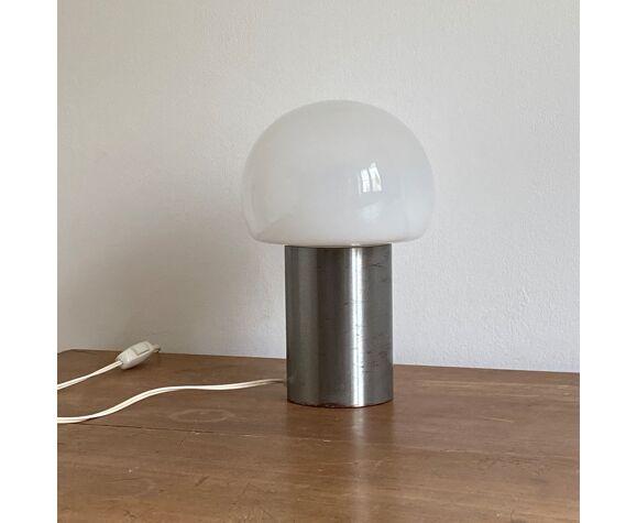 Lampe champignon, inox et opaline, 1970