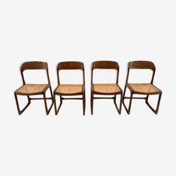 Set de quatre chaises Baumann traineau set de quatre
