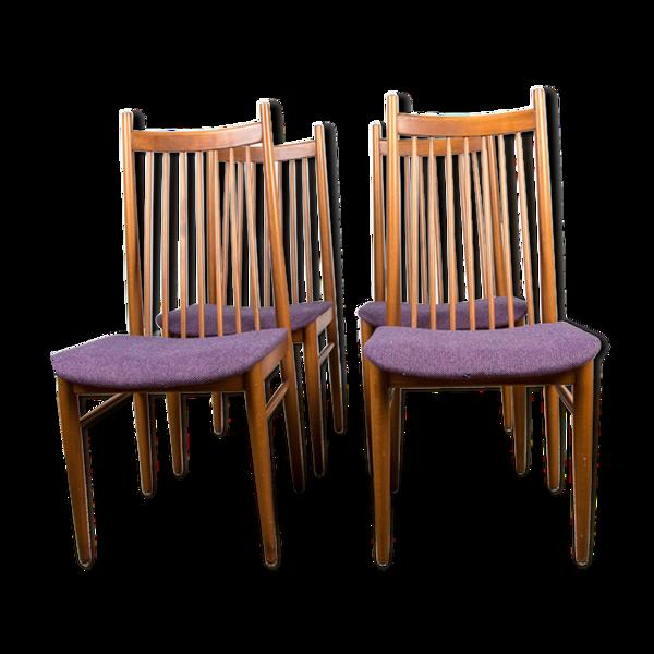 Série de 4 chaises de repas danoises en teck et tissu