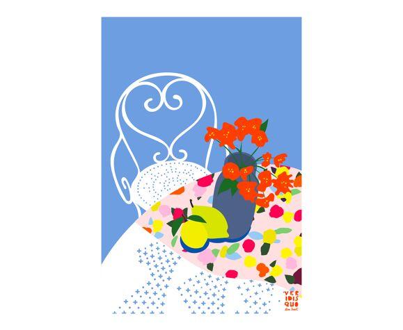 Illustration en édition limitée format a3 veridis quo elisa brouet Mamie line  -