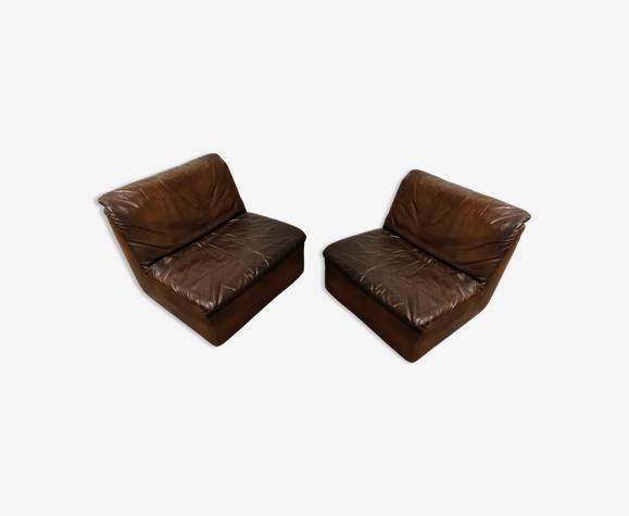 Fauteuils en cuir vintage par Durlet, années 1970