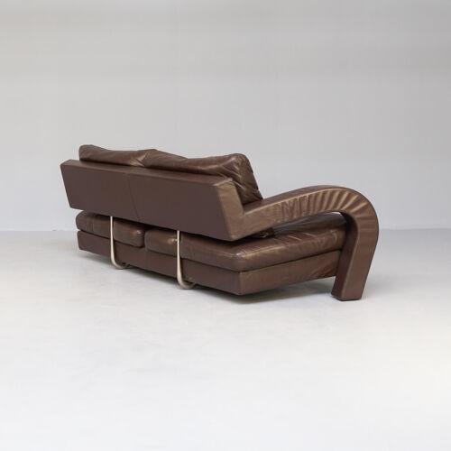 Canapé en cuir brun des années 80 pour B & B Italia