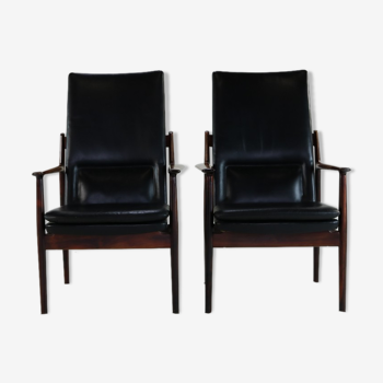 Deux fauteuils très élégants en bois de rose par Arne Vodder pour Sibast Danemark