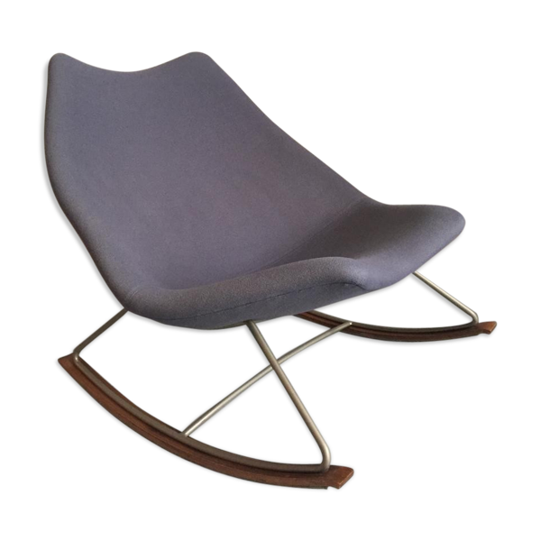 Rocking chair F595 in blue fabric and steel by Geoffrey Harcourt for Artifort 1960 s
