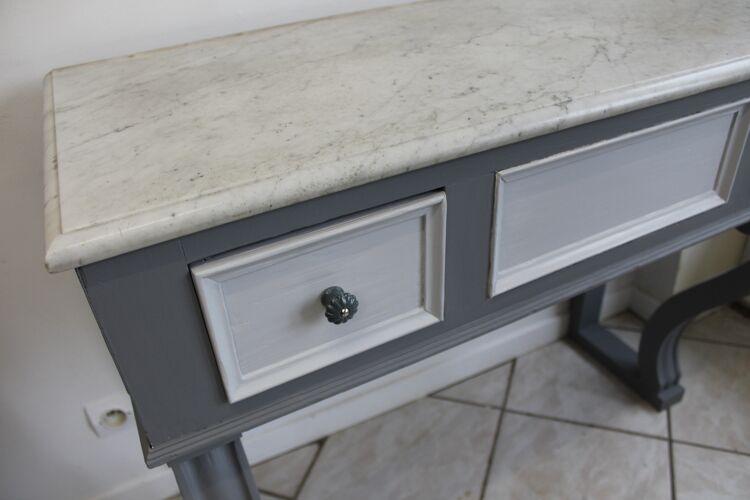 Console ancienne grise dessus marbre Elise