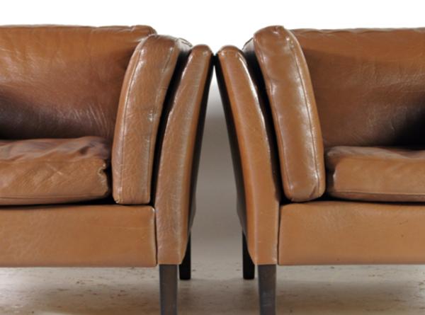 Fauteuil vintage en teck et cuir danois rétro années 60 70