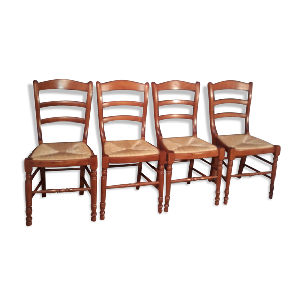 4 chaises paillees