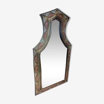 Miroir style oriental laiton et cuivre 35x18cm