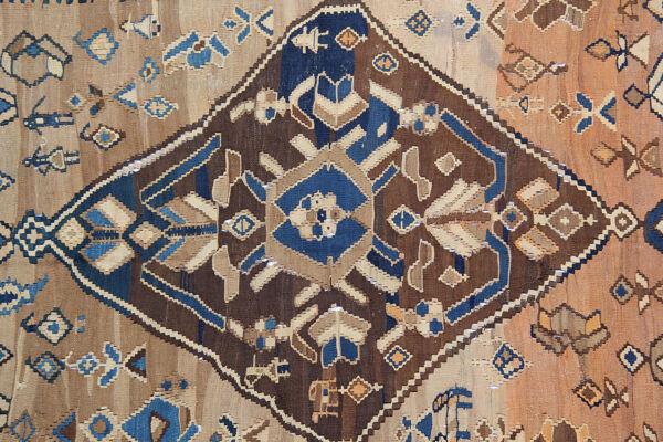 Tapis antique de coureur de kilim en laine 205x408cm