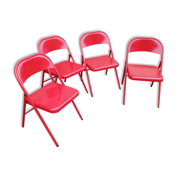 Set de 4 chaises pliantes métal rouge