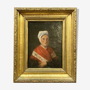 Tableau huile sur toile école Française du XIXeme la belle savoyarde