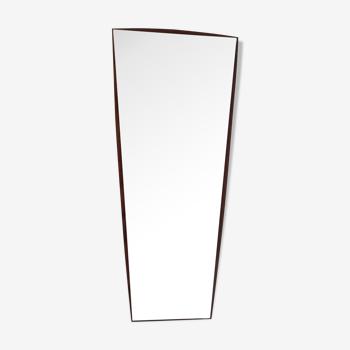 Miroir scandinave en teck vintage des années 60 33x76cm