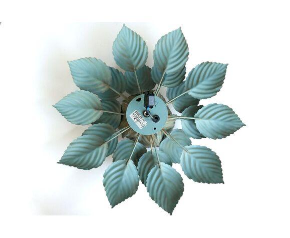 Applique ou plafonnier fleur en métal vert et doré années 70
