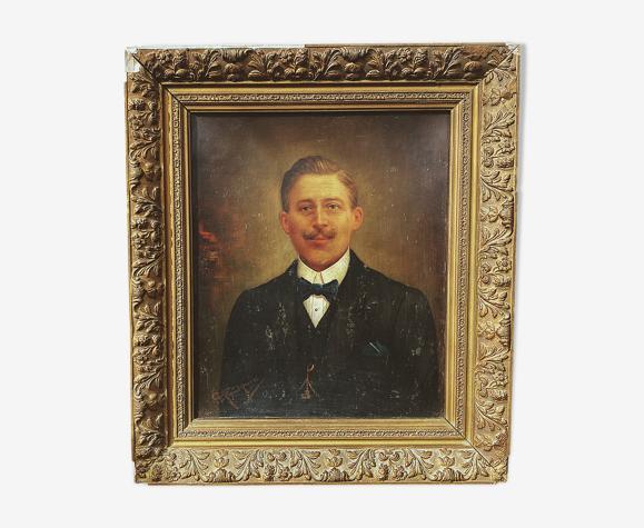 Portrait d'un homme à moustache XIXeme siècle