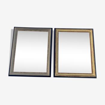 Paire de miroirs anciens style Louis XVI en bois 51x63cm