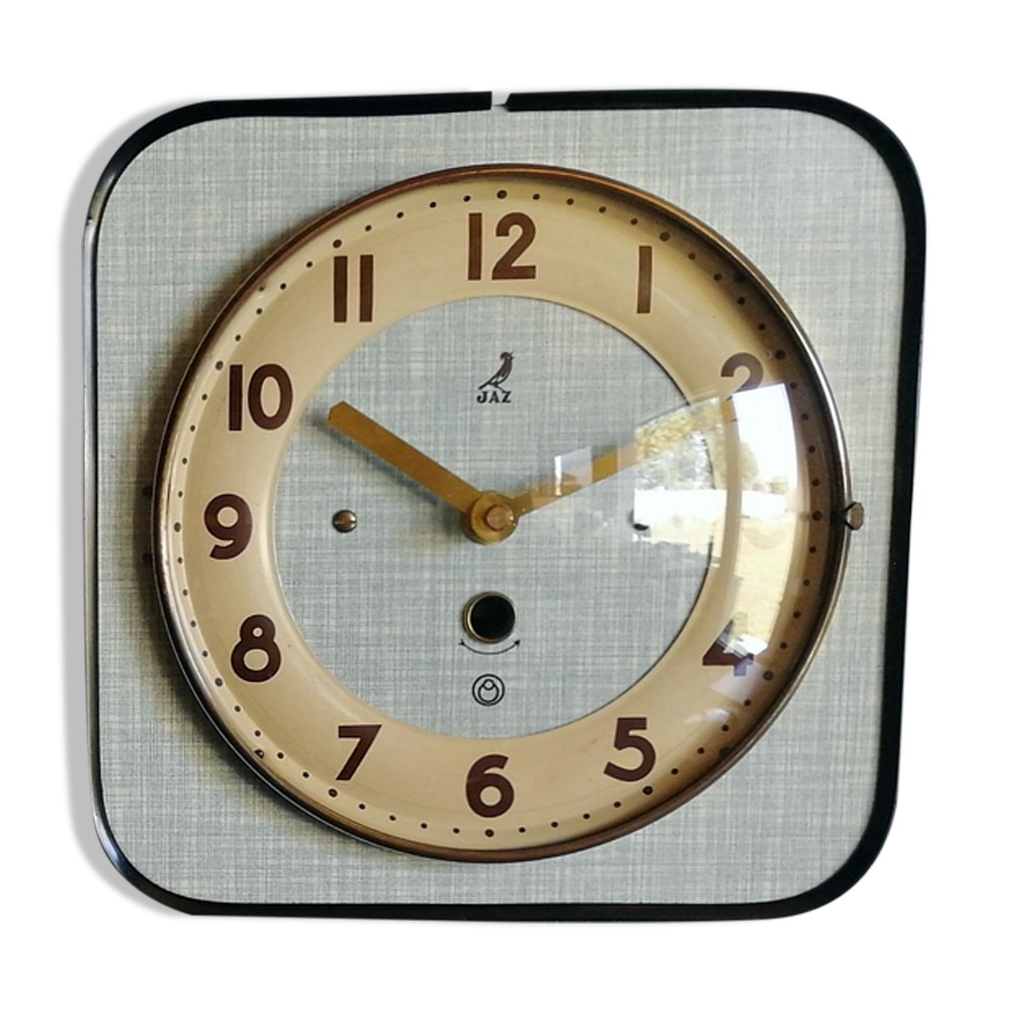 Horloge formica vintage pendule murale silencieuse carrée