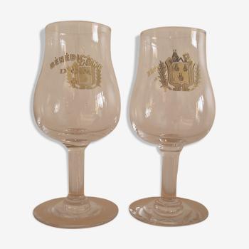 Deux verres anciens de Bénédictine D.O.M. années 1960