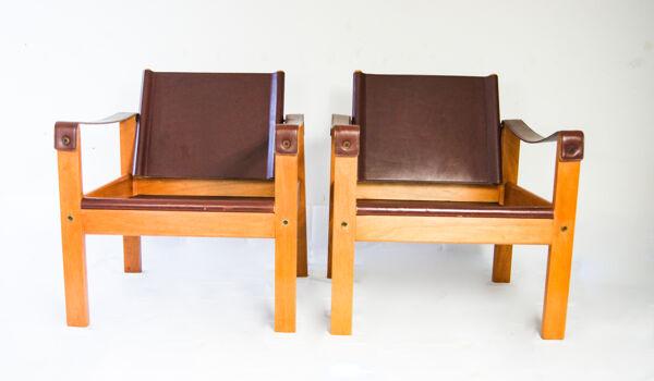 Paire de fauteuils en cuir Safari et table à café assortie Karl Heinz Bergmiller pour Escriba