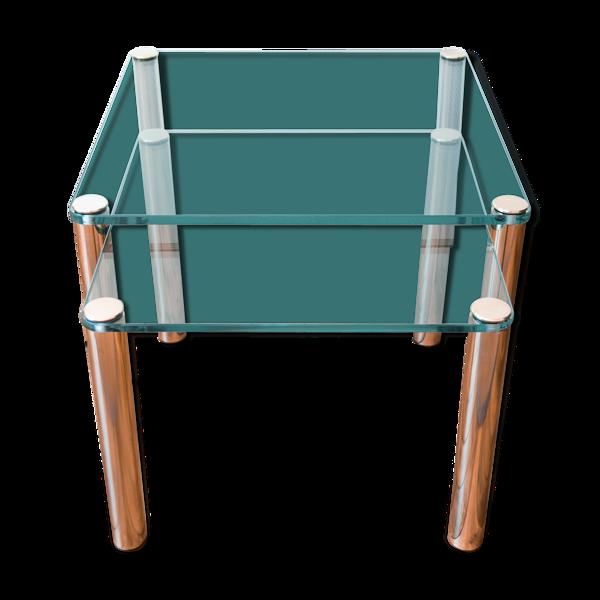 Tables gigognes en verre épais et pied en laiton
