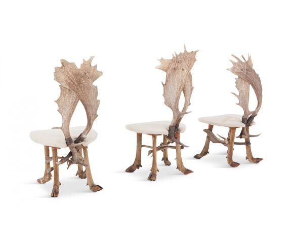 Ensemble de chaises de chasse et table assortie 1960