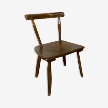 Chaise en bois style primitif brutaliste