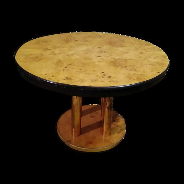 Table design 70 en loupe d'orme et laiton