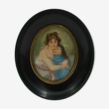 Miniature peinte a la main XIXeme h boudiez portrait femme fillette