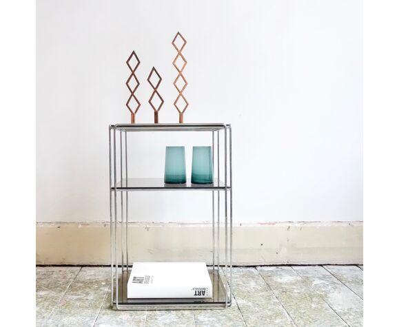 Table d'appoint vintage chrome & plateau en verre par Max Sauze édition Isocèle