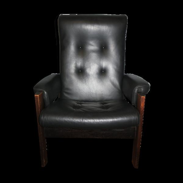 Fauteuil inclinable danois en cuir noir vintage des années 1960