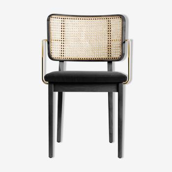 Chaise cannage gris chic bois noir avec accoudoirs Red Edition