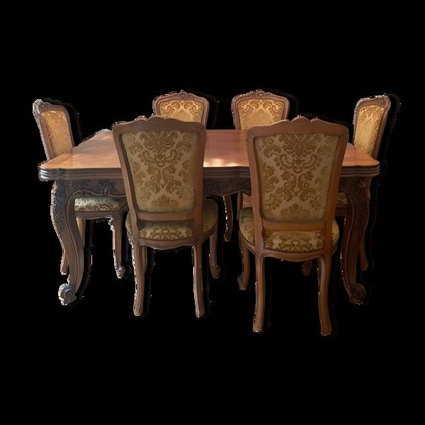 Table Louis XV en chêne massif & 6 chaises