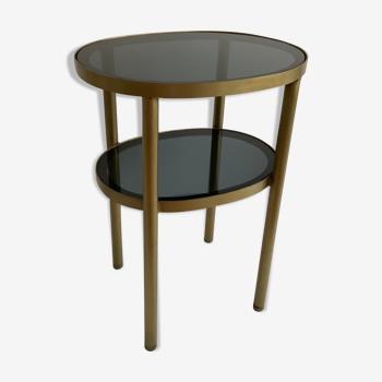 Table d'appoint laiton et verre fumé