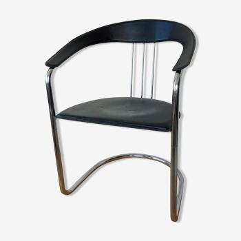 Fauteuil moderniste en cuir et chrome années 70