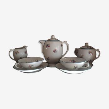Service à petit déjeuner Vintage  2 personnes Porcelaine CRB