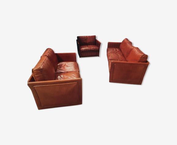 Salon cuir  3 pièces