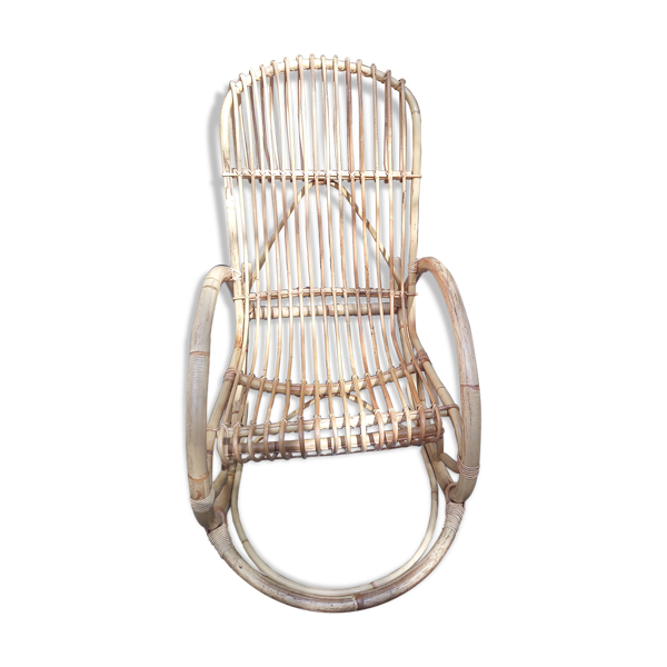 Selency Rocking-chair en rotin