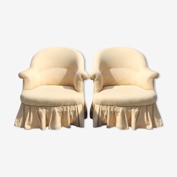 Paire d'anciens crapauds refaits à neuf tissu dans les tons camel style Napoléon III