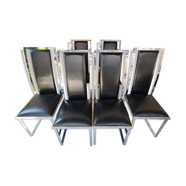 Selency Set de 6 chaises en cuir et chrome