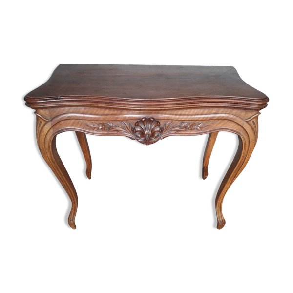 Selency Console table st Louis XV acajou et noyer sculpté