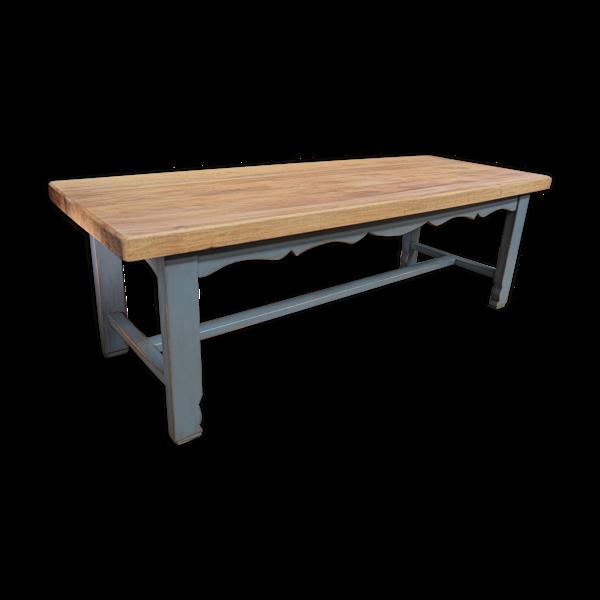 Selency Table de salle a manger en hêtre 1950 pied patinée gris