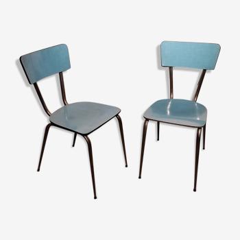 Paire de chaises formica bleues vintage
