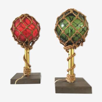 Paire de lampes corde et flotteurs de filets design années 60 - 70
