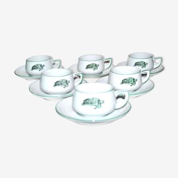 Service rétro vintage de 6 tasses à expresso tortue en porcelaine thomas germany