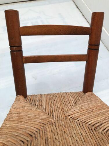 Chaise en bois paillée vintage pour enfant années  70