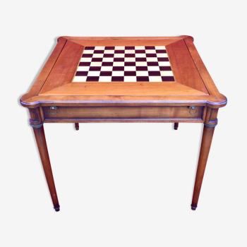 Table à jeux à système en merisier