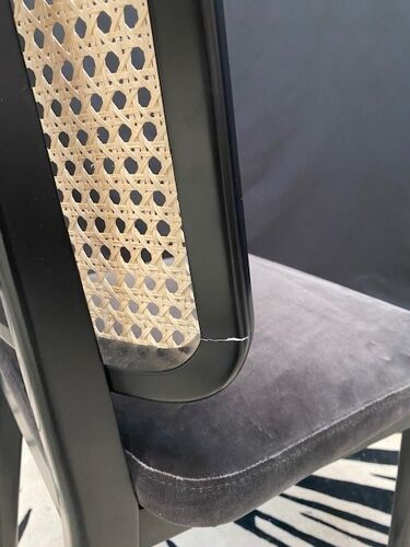Chaise cannage noir gris sans accoudoirs Red Edition