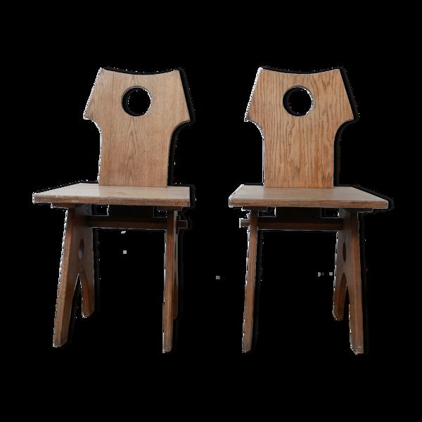 Selency Paire de chaises d'appoint françaises Reconstruction
