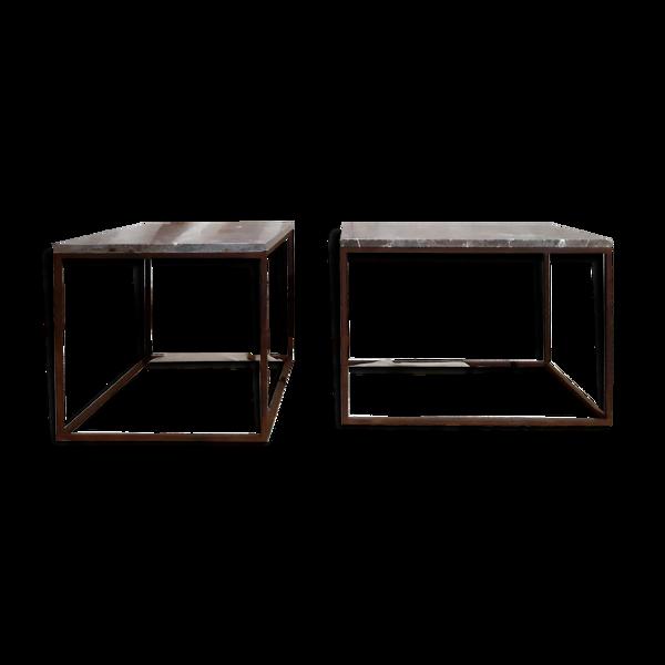 Paire de tables basses pour bout de canapés - métal et marbre