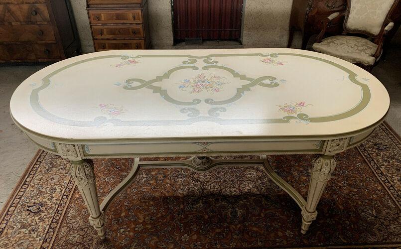 Table Louis XVI Vénitienne en bois laqué vers 1900-1920
